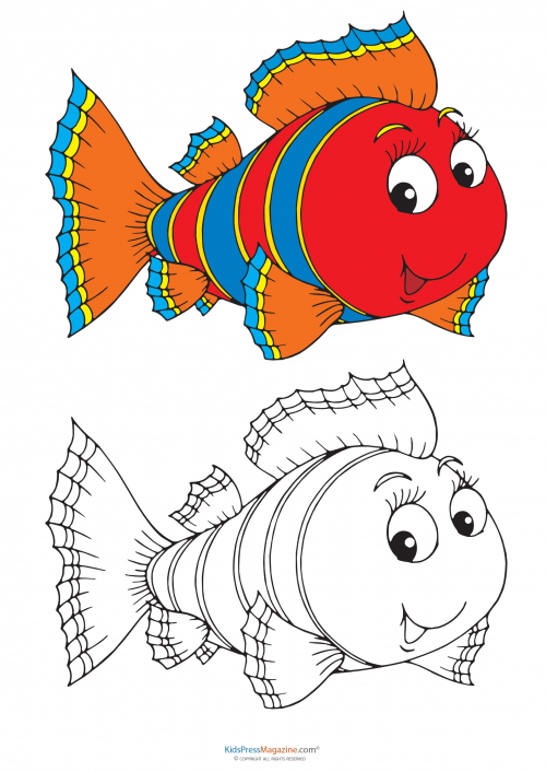 Match Up Coloring Pages – Fish - KidsPressMagazine.com