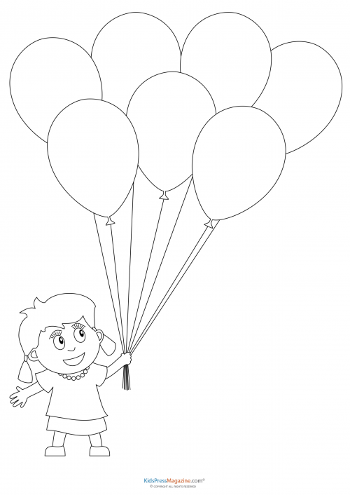 preschool coloring pages girl with balloons - Preschool Coloring Pages