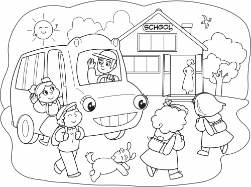 Coloring Page Going to School KidsPressMagazine