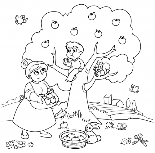 children picking apples coloring pages - photo#3