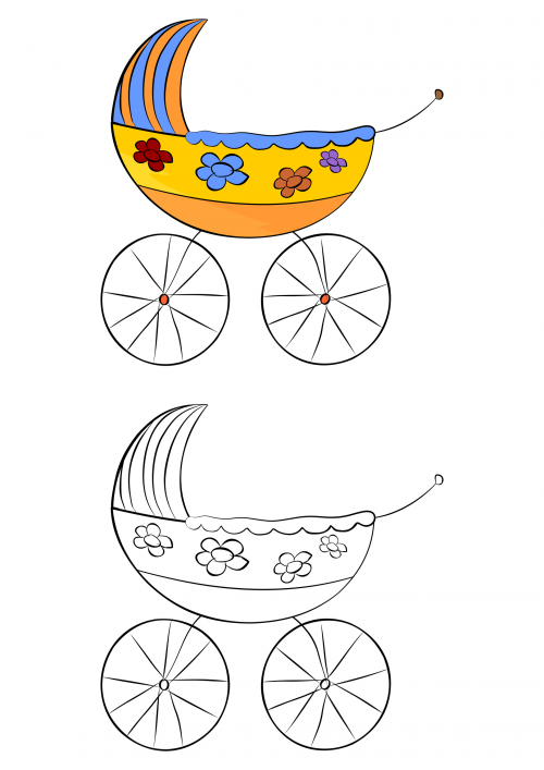 baby carriage coloring pages - photo #18
