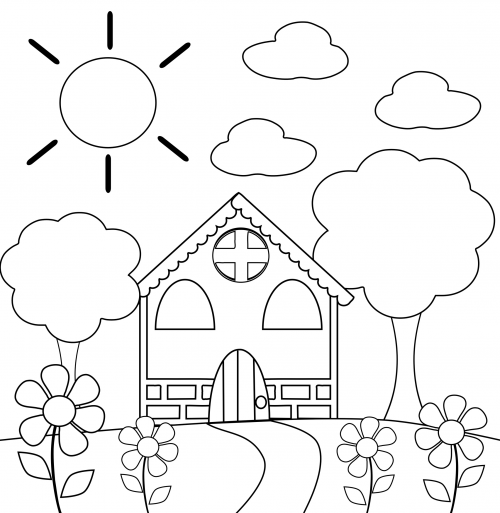 Preschool coloring page house get it now