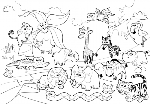 Detailed Coloring Page Zoo Animals