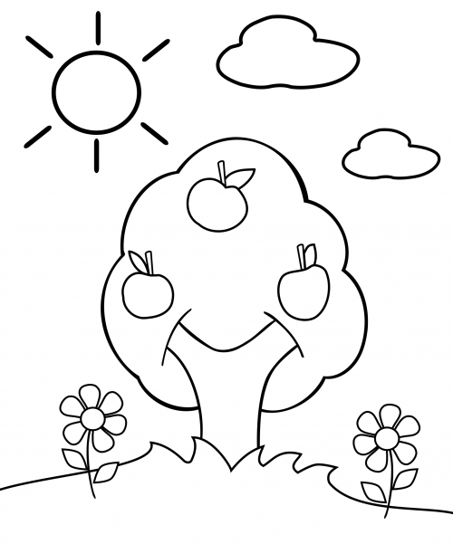 Preschool Coloring Page Apple Tree