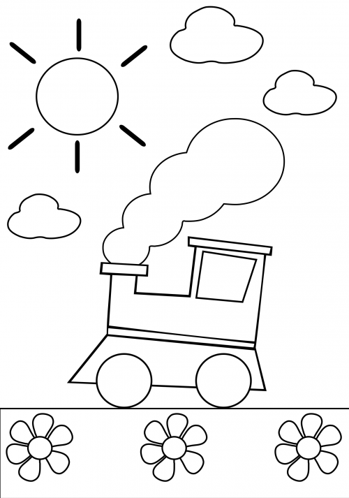 coloring pages trains preschoolers development - photo#29