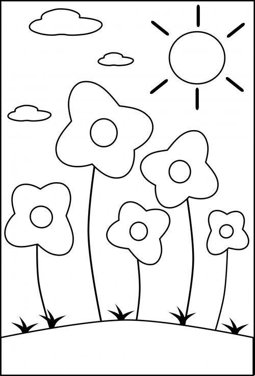 Preschool Coloring Page - Flowers - KidsPressMagazine.com