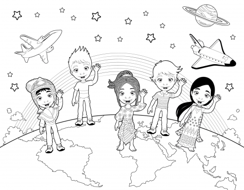 Detailed Coloring Page Children of the World KidsPressMagazinecom