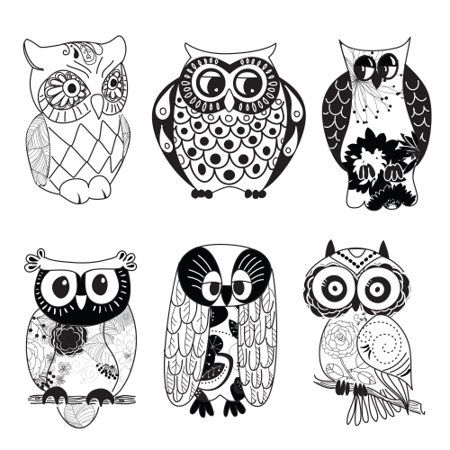 Owl Printable Clipart - Black and White ...