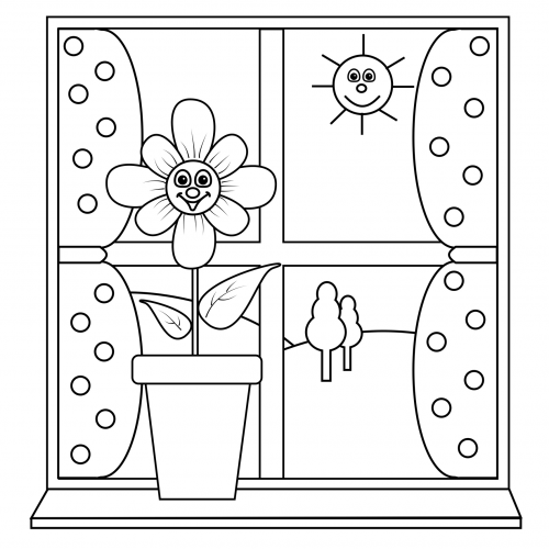 Coloring page sunny window for Pages for windows