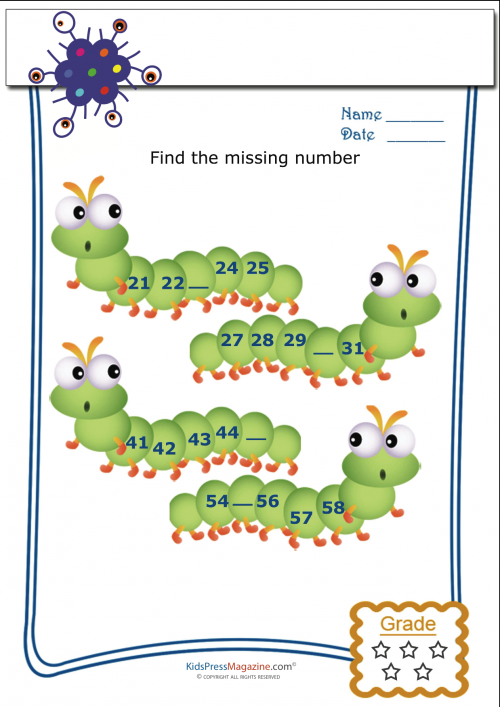 Find the Missing Numbers Worksheet 3 KidsPressMagazine – Missing Numbers Worksheets