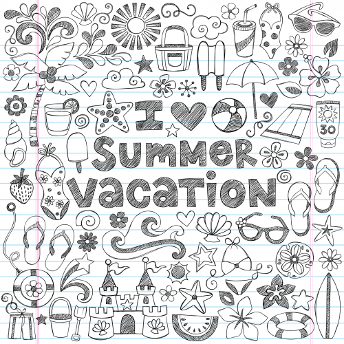 Summer vacation doodle page for Summer vacation coloring pages