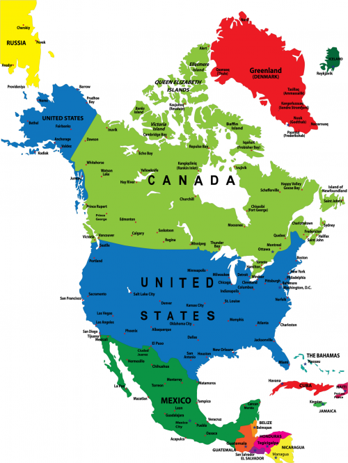 North American Colorful Map   KidsPressMagazine.com