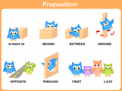 Prepositions: in front of, behind, between, through ...