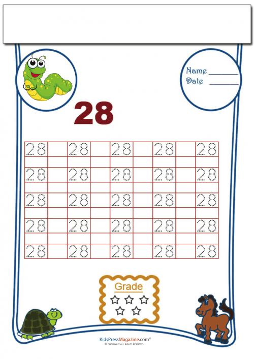 Tracing Numbers 28 Kidspressmagazine. Tracing Numbers 28. Preschool. Preschool Worksheet Number 19 At Clickcart.co