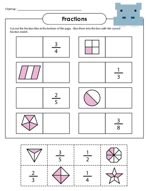 Number Names Worksheets basic fraction worksheet Free – Naming Fractions Worksheet