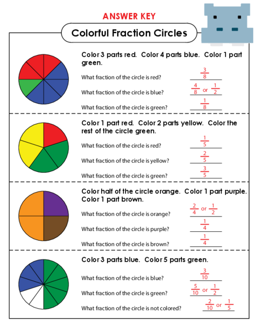 Colorful Fraction Circles KidsPressMagazine – Fraction Circles Worksheet