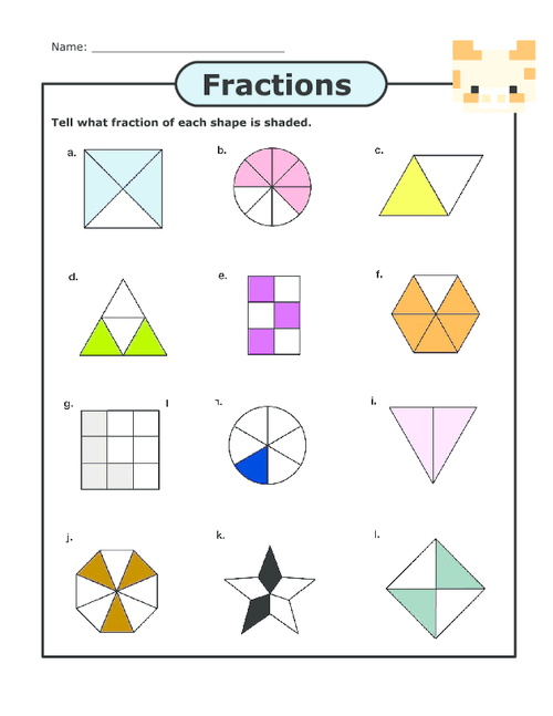 Number Names Worksheets parts of a fraction worksheet Free – Shaded Fractions Worksheet
