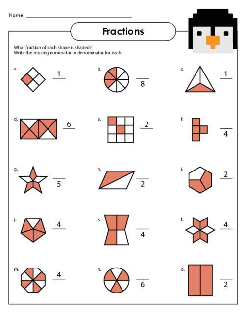 Basic Fractions Worksheet 4 - KidsPressMagazine.com