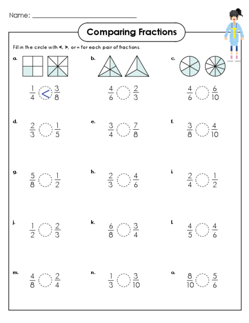 Printables Comparing Fraction Worksheets worksheet on comparing fractions scalien