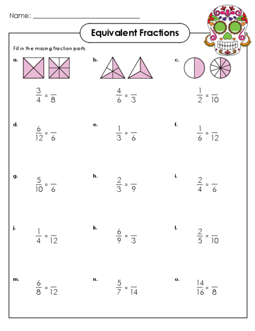 Free printable equivalent fraction worksheets 3rd grade
