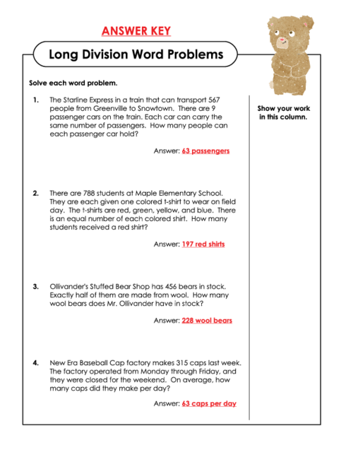 Long Division Word Problems Grade 5 - Scalien