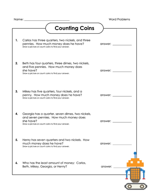 Counting Coins Word Problems - KidsPressMagazine.com