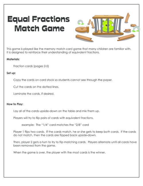 Equal Fractions Match Game Kidspressmagazine. Get It Now. Worksheet. Equivalent Fractions Match Up Worksheet At Mspartners.co