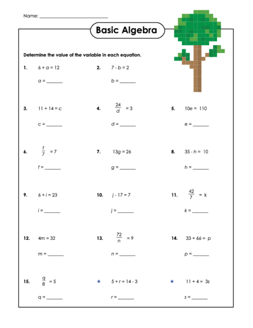 Printables Beginner Algebra Worksheets basic algebra worksheet 2 kidspressmagazine com 1 print or open in a4 format