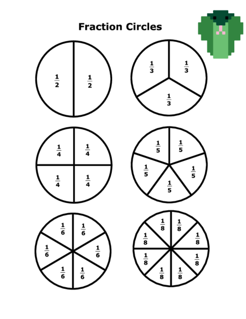 image regarding Fraction Circles Printable named Portion Circles With Quantities -