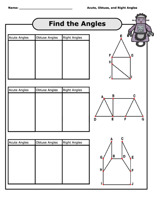 Worksheets Acute Obtuse And Right Angles Worksheets find the angles worksheet kidspressmagazine com get it now