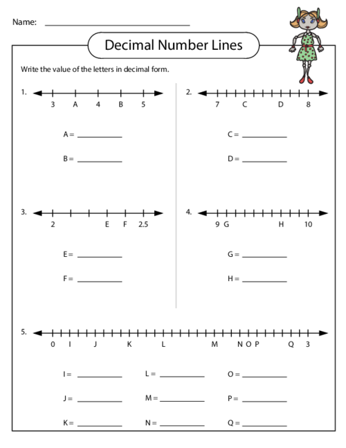 Decimal Number Lines - KidsPressMagazine.com