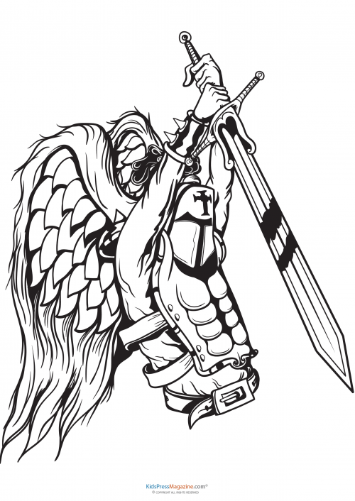 Medieval Knight Sword Coloring Pages