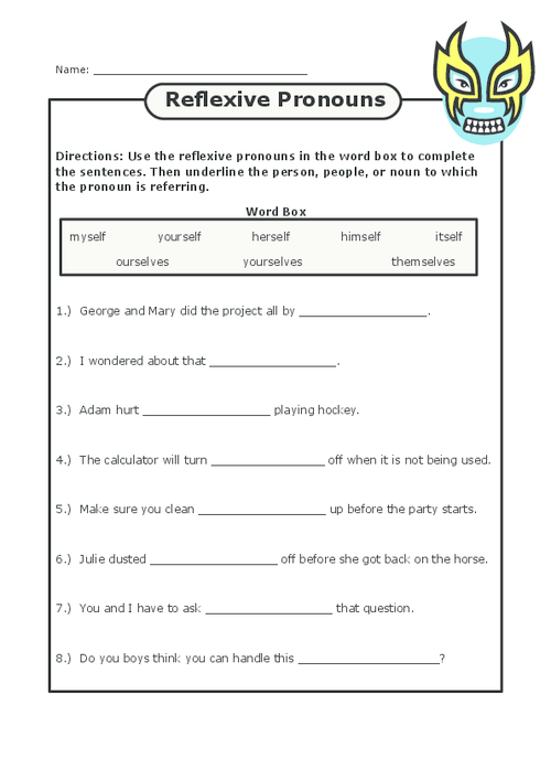 Reflexive Pronoun Worksheets 2Nd Grade | ABITLIKETHIS