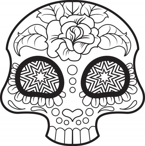Sugar Skull Coloring Page 6 - KidsPressMagazine.com