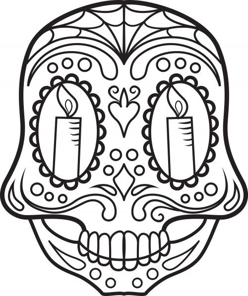 Sugar skull coloring page 7 for Sugar skull color pages