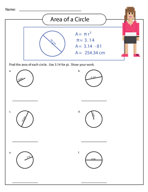 Area of a Circle Worksheet 3 - KidsPressMagazine.com
