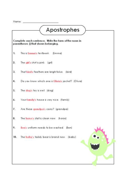 Collection of Apostrophe Worksheet Sharebrowse – Apostrophe Worksheets