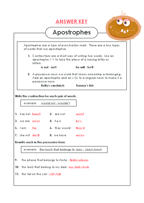 Apostrophe worksheet