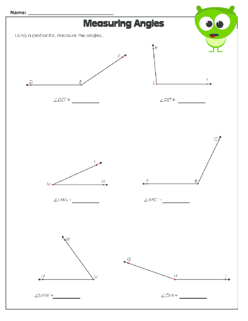Printables Measuring Angles Worksheet Answers worksheet measuring angles with a protractor worksheets measure laurenpsyk free and protractor