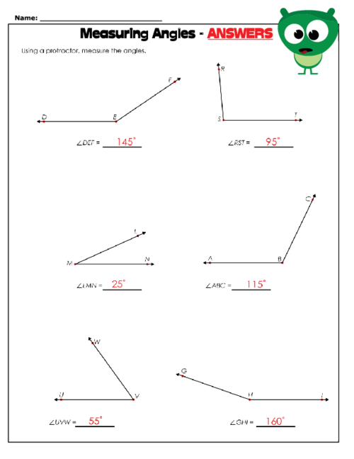 Worksheet Measuring Angles Worksheet Answers measuring angles worksheet kidspressmagazine com get it now