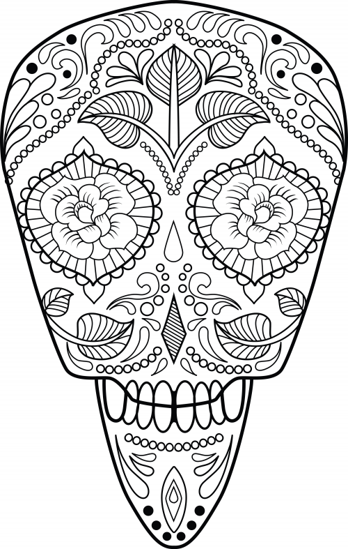 This is a picture of Printable Sugar Skull Coloring Pages regarding coloring sheet
