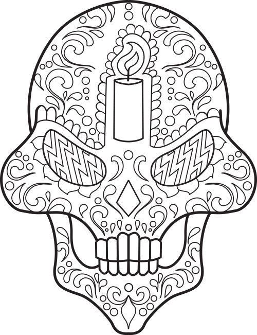 coloring pages sugar skulls - sugar skull coloring page 13