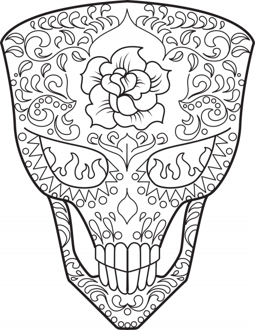 Day of the Dead Sugar Skull coloring page | Free Printable ... | 646x500