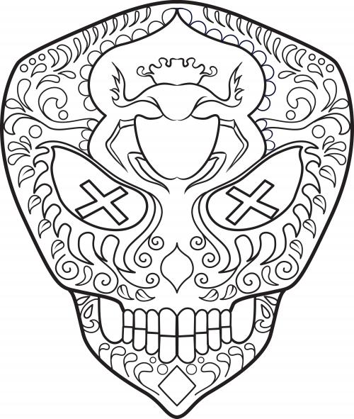 Sugar Skull Coloring Page 15 KidsPressMagazine