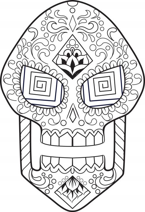 sugar skull coloring page 16 - Sugar Skull Coloring Page