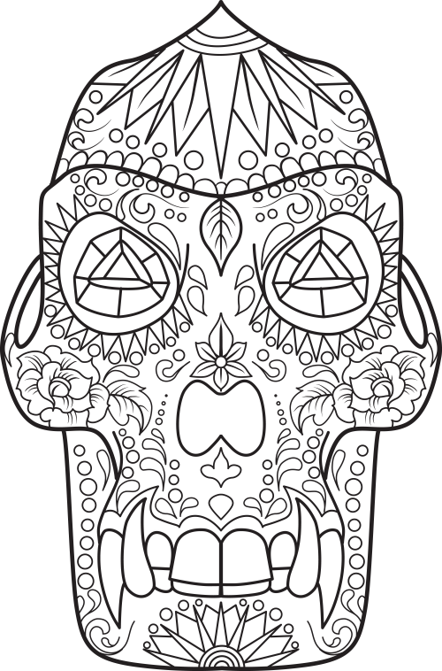 Sugar skull coloring page 17 for Skull coloring pages to print
