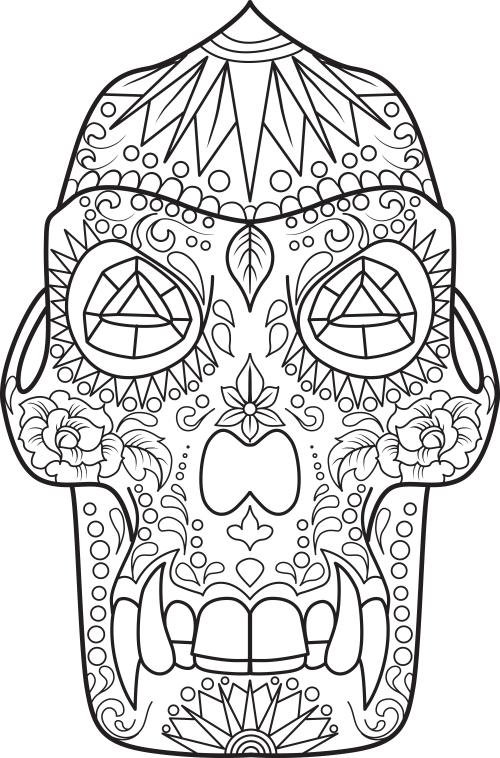 Sugar Skull Coloring Page 17 - KidsPressMagazine.com
