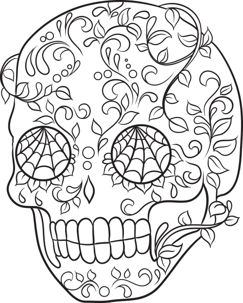 Sugar skull coloring page 19 for Sugar skull color pages