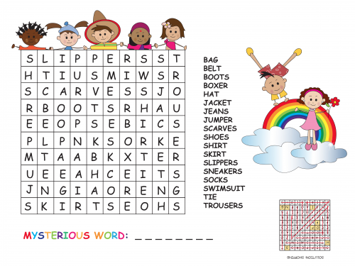 Clothes Word Search - KidsPressMagazine.com