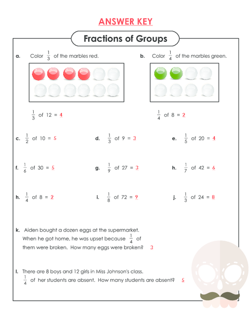 fractions of a group worksheets | Plustheapp
